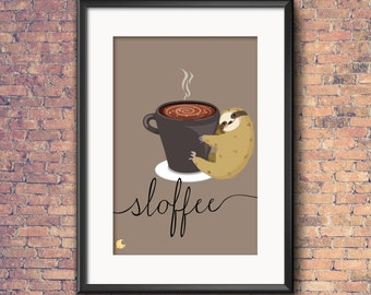 Sloth Sloffee Wall Art Instant Download