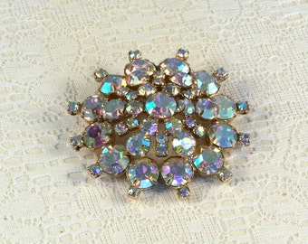 Aurora Borealis Iridescent Rhinestone Brooch // Vintage // Elegant // Dramatic // Luxurious // Dazzling //  Exquisite // Hollywood Glam