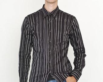 VINTAGE Black Striped Long Sleeve Button Downs Retro Shirt