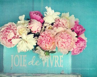 "Peony photograph ""Joie de Vivre"" pink peonies, fine art print, floral photography, pink, aqua,cottage decor,shabby chic home decor"