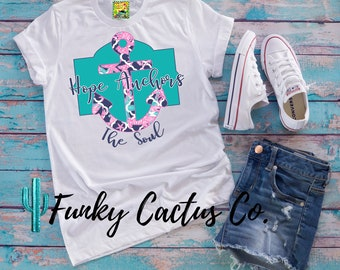 Hope Anchors the Soul Preppy Southern Turquoise Pink Vintage Funky Retro TShirt Shirt