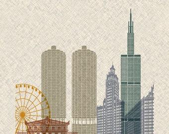 Chicago - Skyline - Print Poster - USA - Illinois