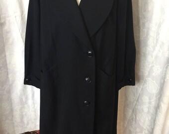 1930s black wool ladies coat