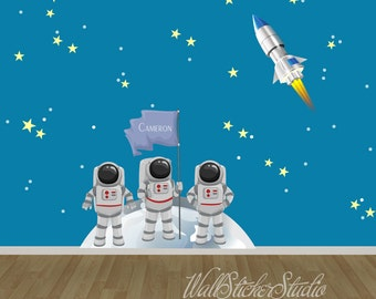 Astronauts FABRIC Decals, Rocket Space Wall Decal Stickers, Reusable Wall Decal