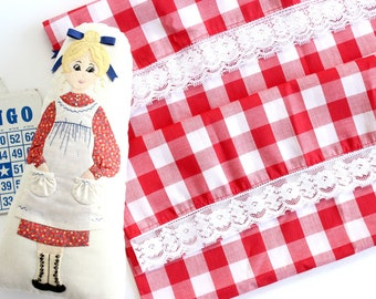 Red and White Checkered Pillowcases, Country Home Decor