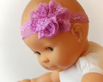 Pink lace flower baby headband