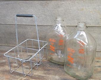 Wire Carrier 2 Glass Cream Milk Bottles Milking Dairy Farm Fresh Chester Ill h, Vintage Dairy Farm, Vintage Milk Bottles, Glass Milk Bottles