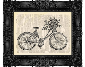 Bicycle with Flower Basket - ORIGINAL ARTWORK - Dictionary Art Print Vintage Upcycled Antique Book Page no. 151