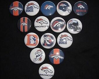 Denver Broncos Themed Buttons  Set of 15