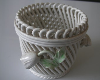 Woven porcelain basket in the Capodimote style