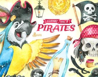 Pirates vol.1 Watercolor Clipart. Jolly Roger, nautical, skull, parrot, bones, guns, anchor, boys, adventure, treasures, diy, quote, legend
