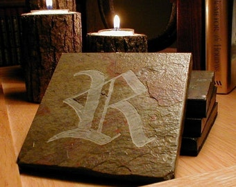 Stone Coasters: Monogram Coasters - Any Letter, Initial - Old English Script - Handmade Carved Slate Coasters, Personalized Custom Coasters