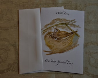 Mother Thrush and Babies Greeting Card with Envelope
