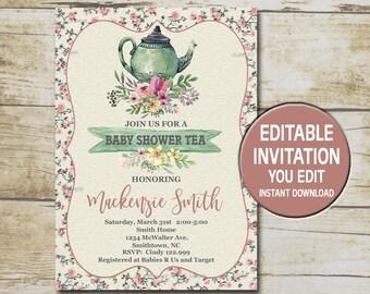 Tea party baby shower invitation etsy tea party baby shower invitation template editable you edit floral baby shower tea filmwisefo Gallery
