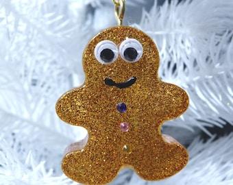 Gingerbread Men, Chunky Resin, Christmas decor, Cute Gingerbread men, hanging Decor, Alternative Xmas,
