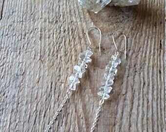 Herkimer diamond dangle earrings with blue topaz on sterling silver