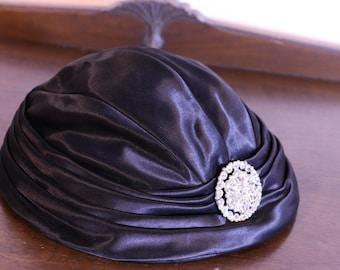 1930s satin hat with rhinestone