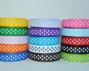 "15y - 3/8"" grosgrain ribbon swiss dot or polka dot ribbon"