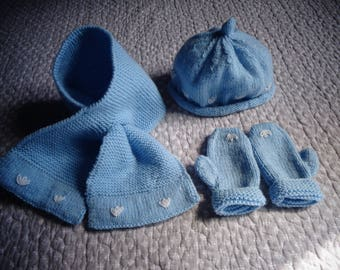 blue baby mittens, hat and scarf set