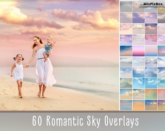 60 Romantic Sky Overlays, Pastel sky, sky overlay, english sky, realistic sky, photoshop overlay, overlays, beach sky, clouds, gimp,  skies