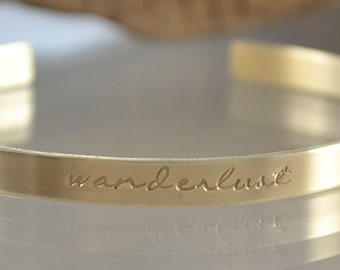 Gifts for Her - Personalized Bracelet - Personalized Bridesmaids Gifts - Gold Stacking Cuff - Wanderlust Jewelry - Best Friend Gifts