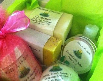 Kiss A Prince Bath Treats for SIX MONTHS Includes 2 Soaps, Bath Salts, and a Bath Bomb EVERY month, for 6 months