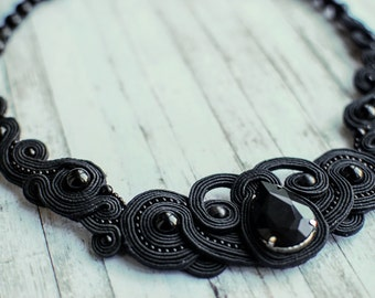 Soutache evening black necklace with agate and crystal, Embroidered beaded necklace, Statement luxury gemstone jewellery, FREE SHIPPING