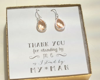 Set of 3 Earrings, Peach Earrings, Bridesmaid Peach Earrings, Champagne Earrings, Blush Wedding Earrings, Bridesmaid Earrings Set of 3, ES3