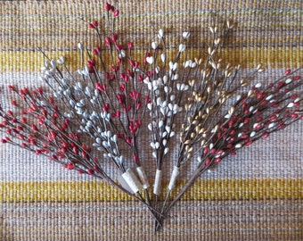 Winter berry floral pick with small berries,silver,red,gold or white,11 inch,11 branches,winter,holiday crafting,florals,wreaths