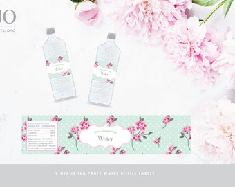 Vintage Tea Party Water Bottle Label / Garden Party / Shabby Chic / High Tea / Design / DIY Printable Party & Birthday Decor - Digital File