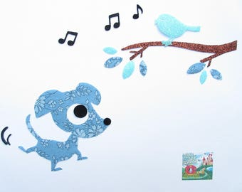 Applique patch iron, dog fusible fabric liberty Capel blue, iron on liberty fabrics, liberty coat