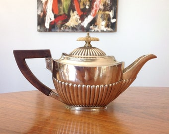 Antique sterling silver small teapot - Roberts & Belk, Sheffield - Bachelor teapot - 1890s