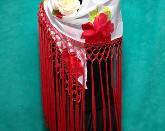 "Handmade Spanish Flamenco Shawl in Organza white Printed Flowers with Fringes Red the Cuquillo. //145x35cm-57""x13,7""//50cm-19,6"""
