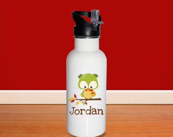Fall Animal Kids Water Bottle - Woodland Fall Animal with Name, Child Personalized Stainless Steel Bottle BPA Free Back to School