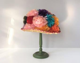 Vintage Raffia Pom-Pom Hat, Ladies Summer Head Gear, Wearable Resort Chapeau, 1960s Women's Cloche, Kitschy Mardi Gras Costume, Woven Straw