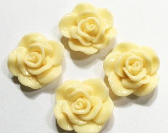 6 pcs of acrylic Lucite flower Cabochon 30x28mm  Cream