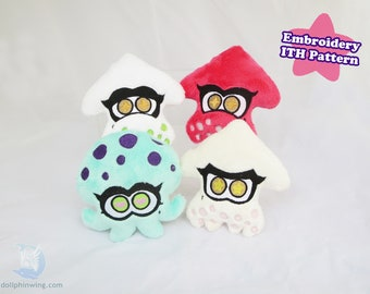 Lil Squids and Octopus Friends Bundle ITH Embroidery Pattern | Plushie In The Hoop Pattern Embroidery File Bundle Pack