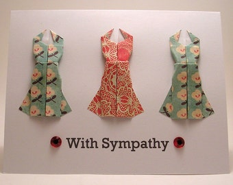 Origami Dress With Sympathy card (blue red)