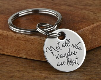 College Graduation Gift, College Student Gift, Travel Gift - Not all who wander are lost Compass Rose Key chain with Inspirational Quote!