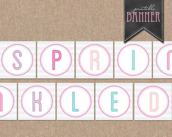 BABY SPRINKLE BANNER - Sprinkled With Love Banner - Printable Banner