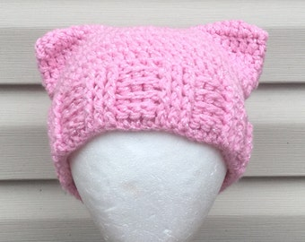 Crocheted Pink Kitty Hat