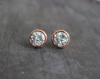 Gorgeous Silver Rose Gold Druzy Stud Earrings, 10mm Druzy, Bridesmaid, Gift