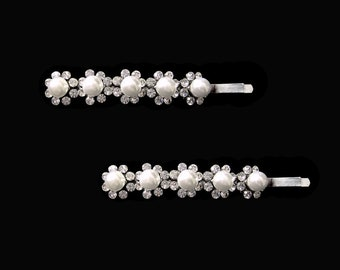 Faux Pearl And Crystal Flower Bobby Pin PAIR Hair Clip Accessory Silver Tone Clear Wedding Bride