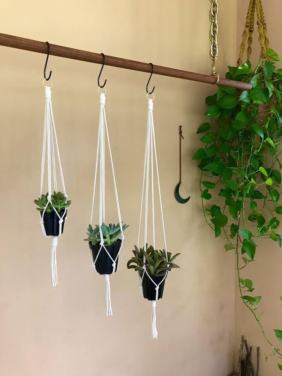 """Macrame Plant Hangers - 20"""" Simple - 3 Pack"""