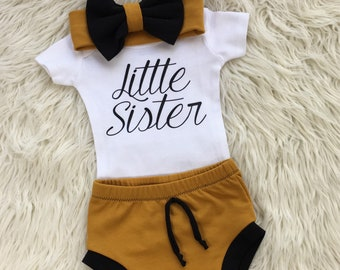 newborn girl coming home outfit, little sister outfit, baby shorties, baby bummies, baby girl summer outfit, newborn summer outfit baby