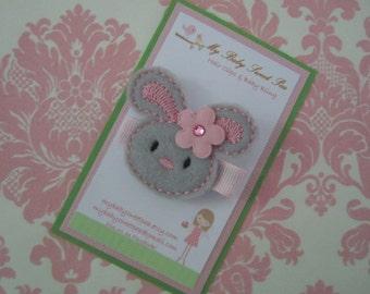 girl hair clip - grey bunny hair clip - no slip hair clip