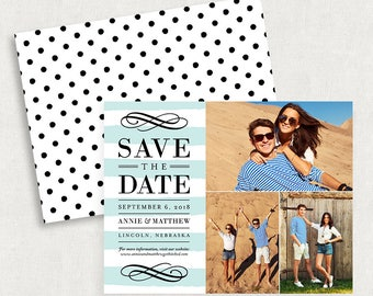 Stripe Save the Dates, Save the Date Cards, Save the Date Magnets, Blue Save the Dates, Printable Save the Date, DIY Save the Date, Modern