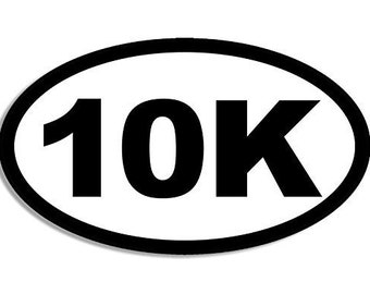 Oval 10K Sticker (Run Kilometer Running Decal)