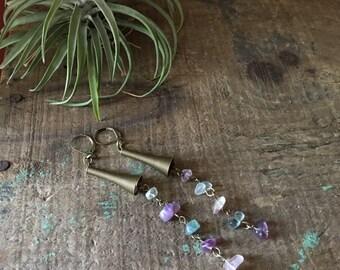 Fluorite & Brass Dangle Earrings- Long Pastel Earrings, Shoulder Dusters- 4'' Earrings
