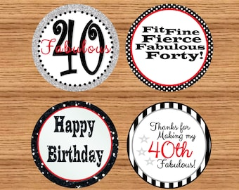 Printable 60th birthday favor tags60th birthday cupcake instant download printable 40th birthday tags 40th birthday party labels solutioingenieria Images